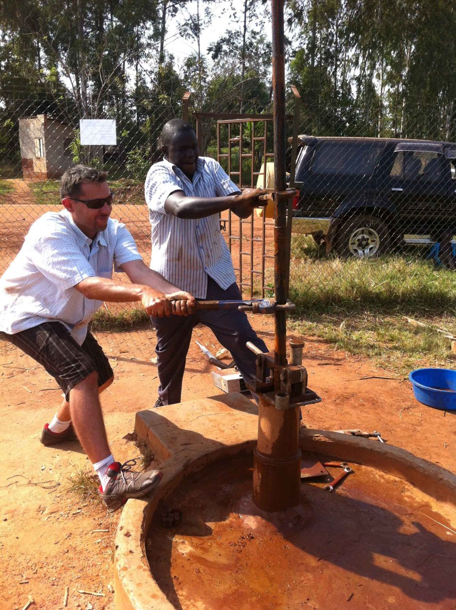 At the borehole (well)