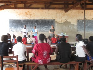 Jody and Rachel giving a demonstration phonics lesson during a training session with teachers at The Irene Gleeson Foundation's primary school.