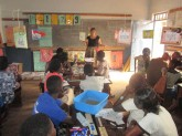 Teacher Abby (Peace Corps volunteer) teaching nursery teaches about ideas for storytelling in the classroom.