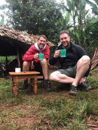 Dan and Cam drinking coffee that took them 2 hours to prepare in a coffee plantation
